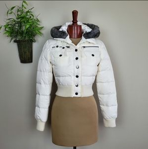 Guess Down Puffer Fur Trim Hooded white Crop Coat